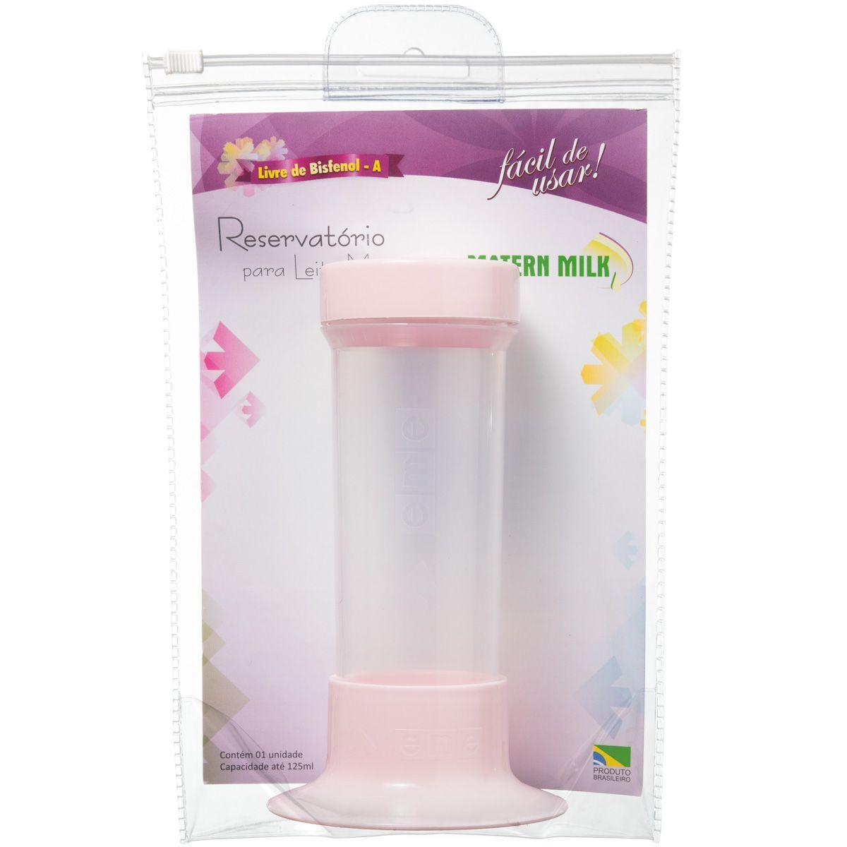 Reservatório para Leite Materno Rosa com tubo de Sucção - peças avulsas do Tira Leite Matern Milk