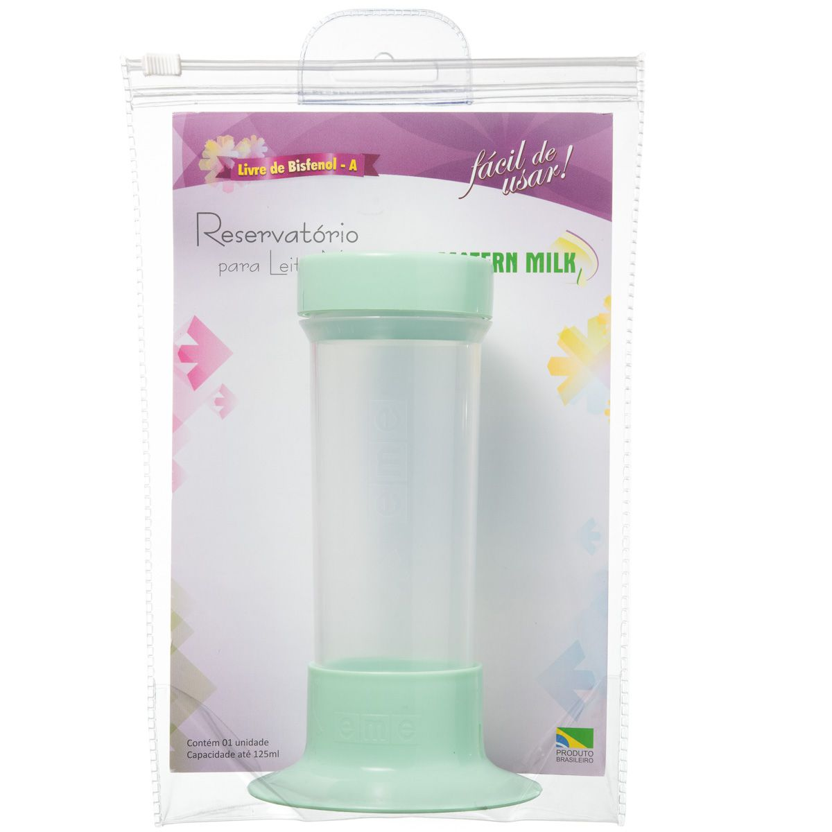 Reservatório para Leite Materno Verde com Tubo de Sucção - peças avulsas do Tira Leite Matern Milk