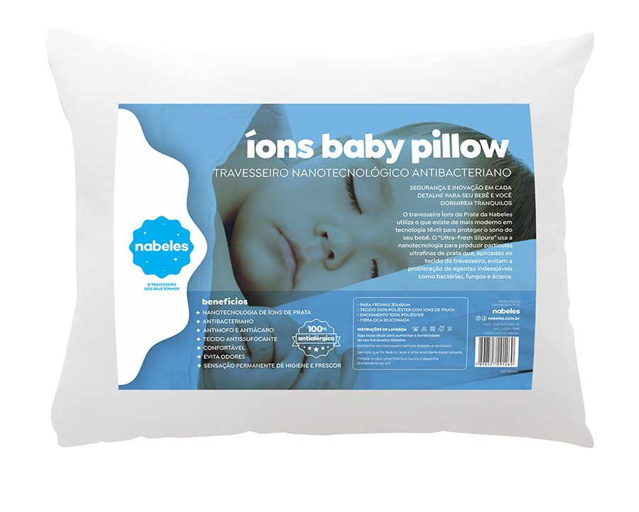 Travesseiro Para Bebês Nabeles com Íons De Prata Lavável 30x40