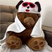 Cobertor Manta Microfibra Infantil 90X90 com Capuz Dog Happy