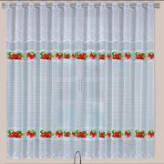 Cortina de Renda para Cozinha Botticelli 2,20x1,20+30cm Cortilester Morango