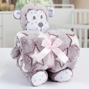 Kit Baby Manta Com Bichinho de Pelucia Microfibra Stone Washed Macaquinho Terracota