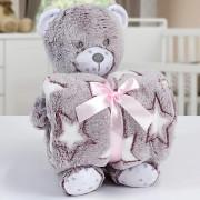 Kit Baby Manta Com Bichinho de Pelucia Microfibra Stone Washed Ursinho Terracota