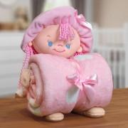 Kit Baby Manta Microfibra Com Boneco de Pelucia Puppy Rosa