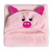 Manta Microfibra 90x90 Infantil Com Capuz Pig