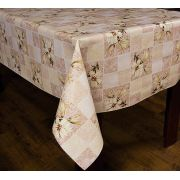 Toalha de Mesa Plástica Térmica Floral Bege Bella Casa 140x220