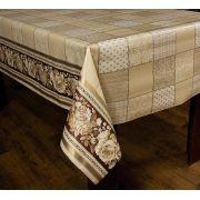 Toalha de Mesa Plástica Térmica Floral/Patchwork Bege Bella Casa 140x140
