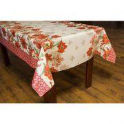 Toalha de Mesa Plástica Térmica Floral Vermelho Bella Casa 140x220