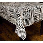 Toalha de Mesa Plástica Térmica Preto e Branco Bella Casa 140x220