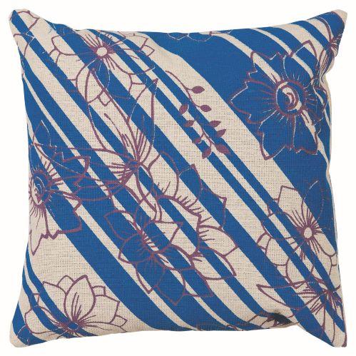 Almofada Neutro Estampada Flores Listras Azul 40Cmx40Cm