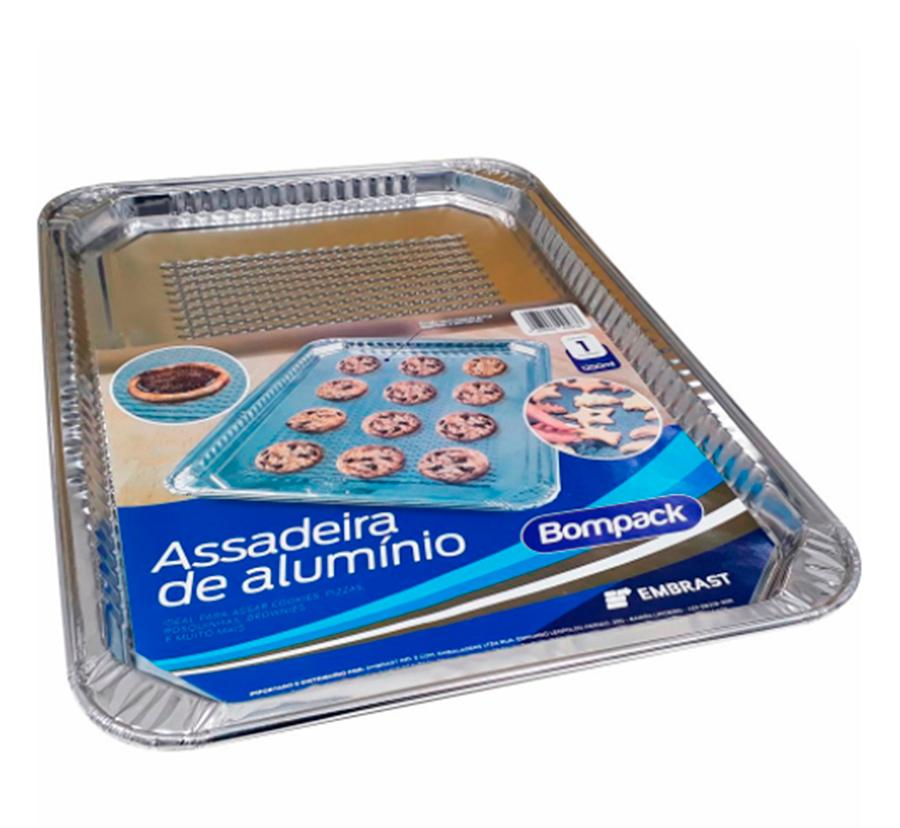 Assadeira De Aluminio Bompack 1250Ml Retangular