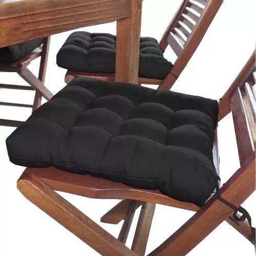 Assento Para Cadeira 40x40 Cm Futon - Preto