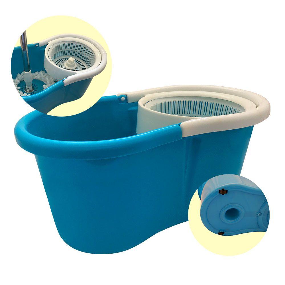 Balde  Mop Centrifuga Esfregão com Refil extra Azul