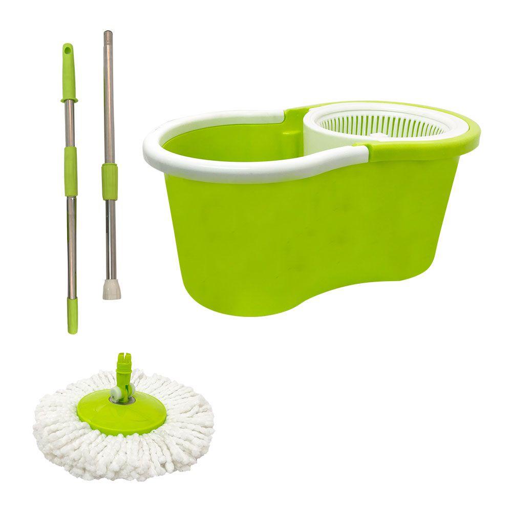 Balde  Mop Centrifuga Esfregão com Refil extra Verde