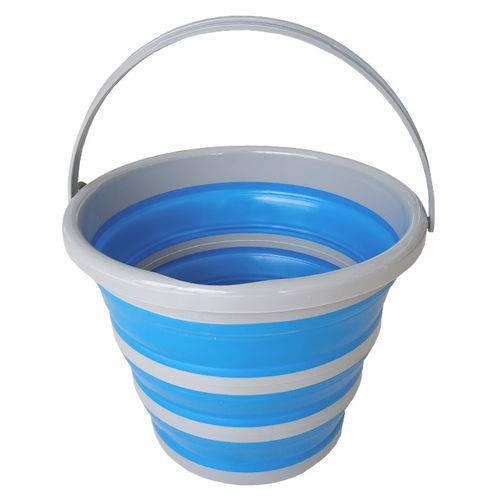 Balde Retratil Dobravel 10 litros Azul