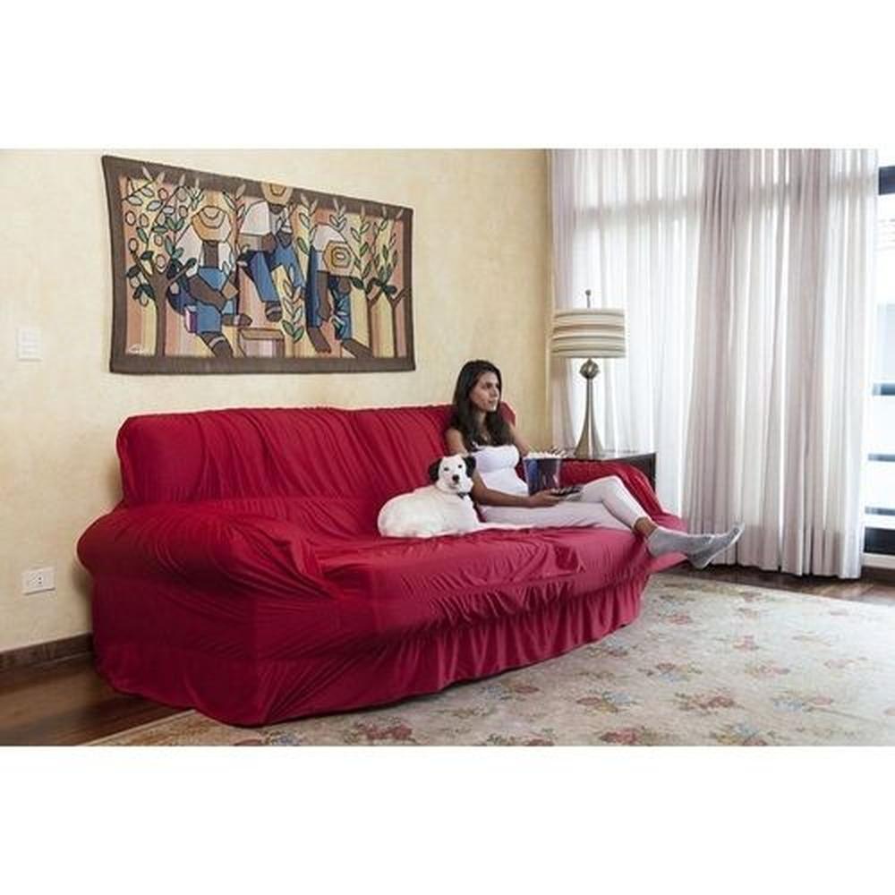 Capa P/ Sofa Extensivel 3 Lugares Retratil Reclinavel Vermelho