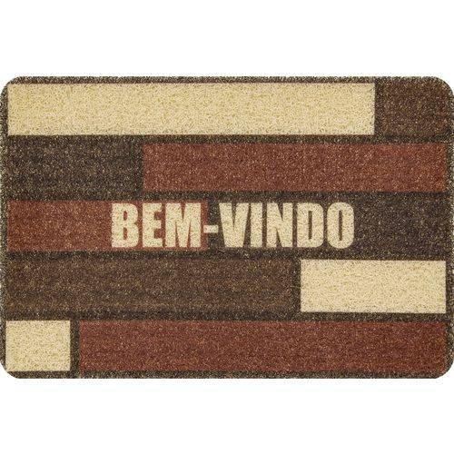 Capacho Vinilico  Bem Vindo Marrom/Bege  60X40Cm