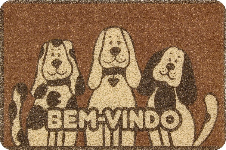 Capacho Vinílico Estampado 60cmx40 cm Cachorro Colorful Bellacasa