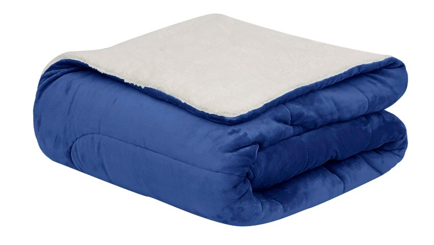 Coberdrom Flannel Sherpa Azul Marinho 245X220 Casal