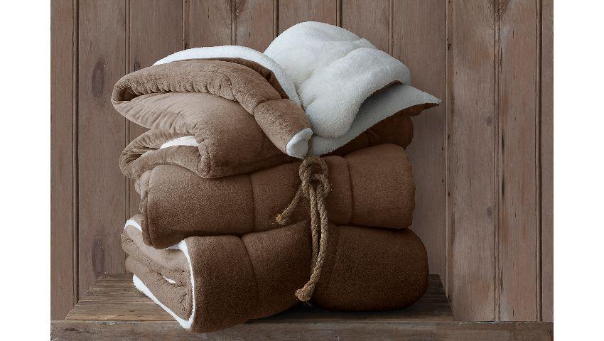 Coberdrom Flannel Sherpa Cappucino 245x220 Casal