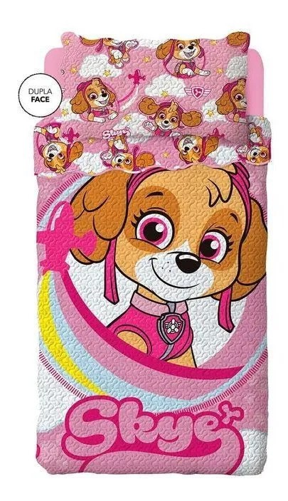 Colcha Infantil Dupla Face Patrulha Canina Rosa - Lepper MOD 2