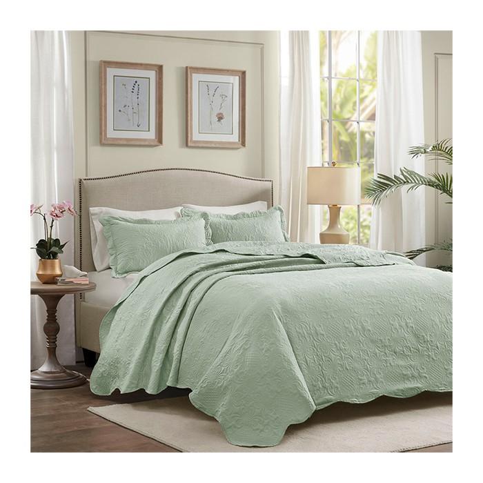 Colcha Milão Color Art lisa Casal / Verde Floral