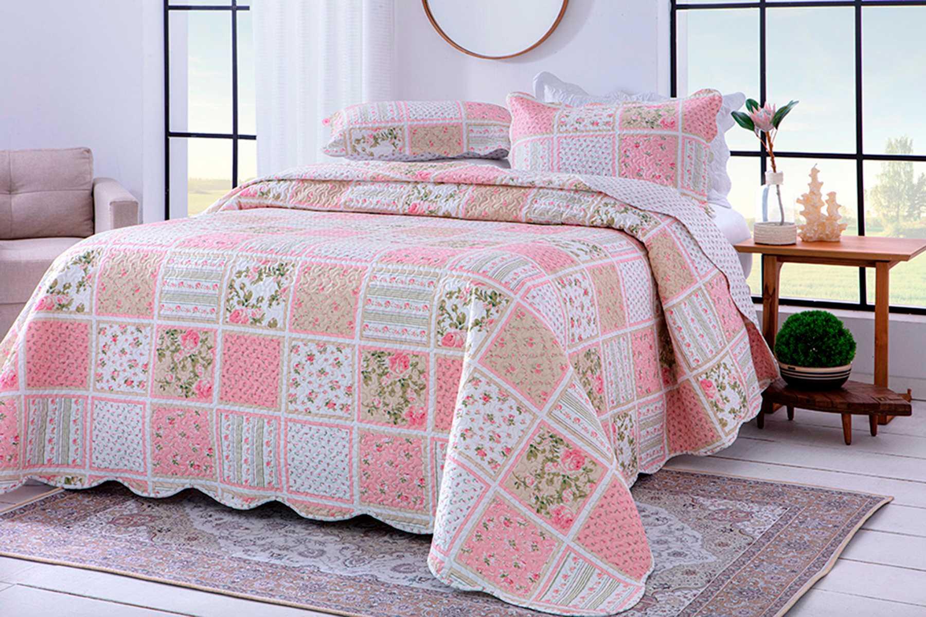 Colcha Paris Color Art Solteiro/ Florido Rosa