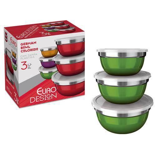 Conjunto De Potes 3 Peças German Bowl Colors Verde Inox Euro Home