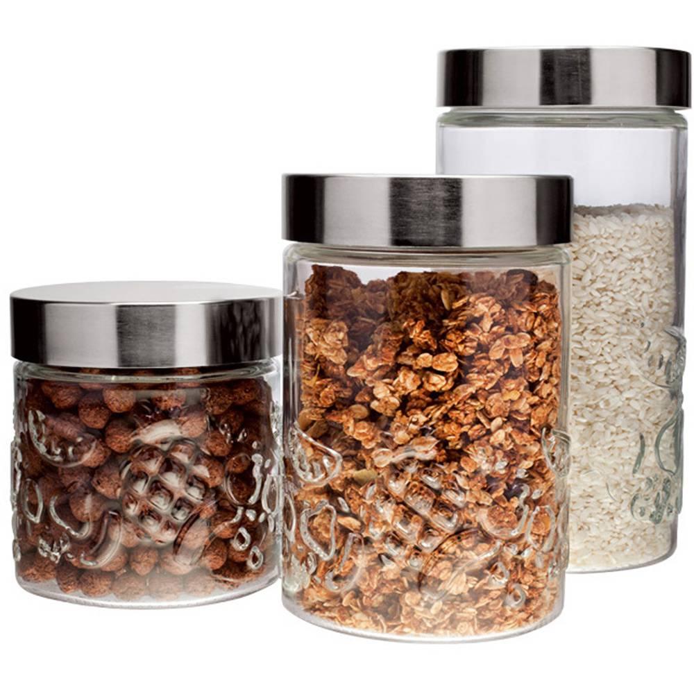 Conjunto de Potes de Vidro com Tampa Inox Frutas 3 Peças - Euro Home
