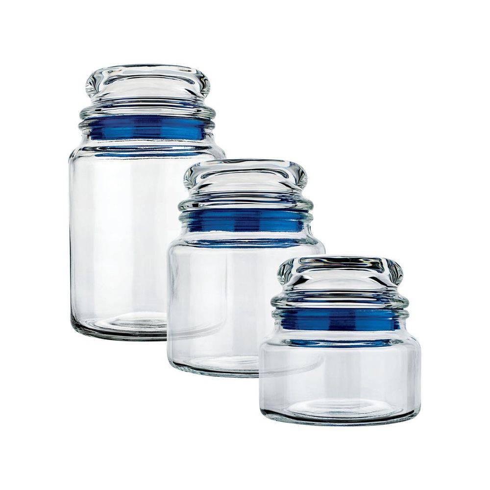 Conjunto De Potes De Vidro Multiuso Euro 3  Pc. Azul Vdr1129