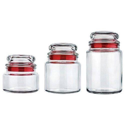 Conjunto de Potes de Vidro Multiuso VDR1129 3 PC. Vermelho