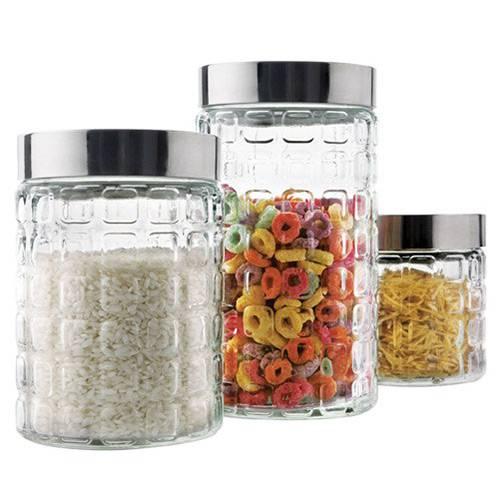 Conjunto Potes de Vidro c/ Quadrados - 3 Peças  - Euro Home
