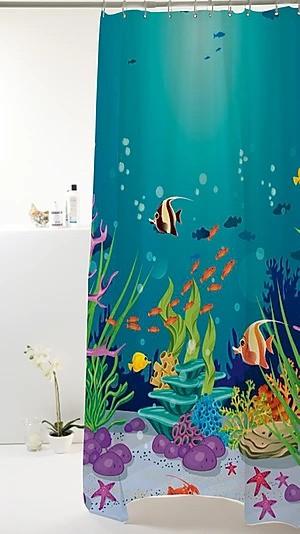 Cortina Box  Fundo do Mar Azul  Peva 180x160cm
