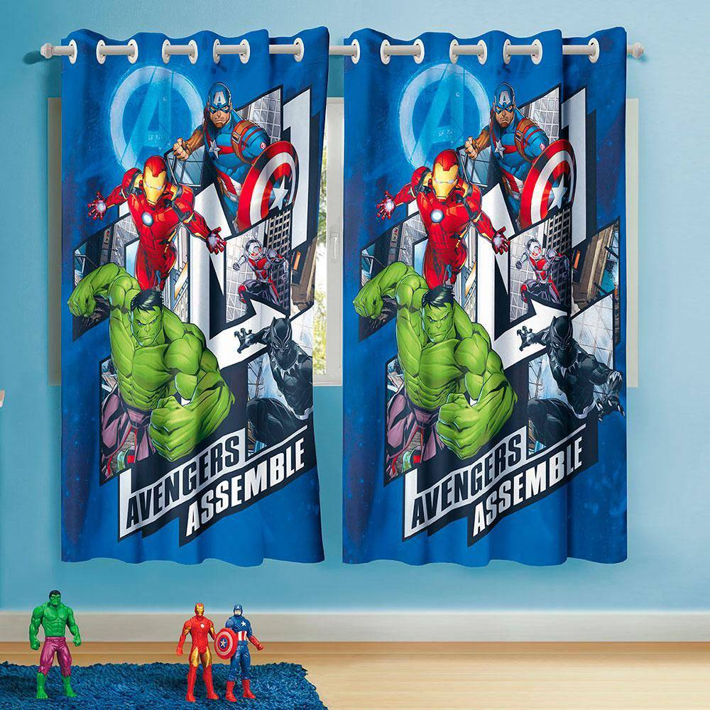 Cortina Com Ilhos 2 Pçs Infantil Avengers Vingadores Herois