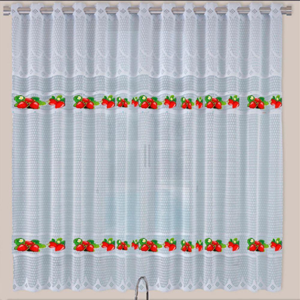 Cortina De Renda Para Cozinha Botticelli 2,20X1,20 Cortilester Morango