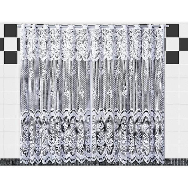 Cortina De Renda Para Cozinha Karla  2,00x1,20 Branca