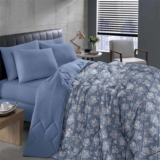 Edredom Solteiro Basic Estampado Gabriele Azul 150X220