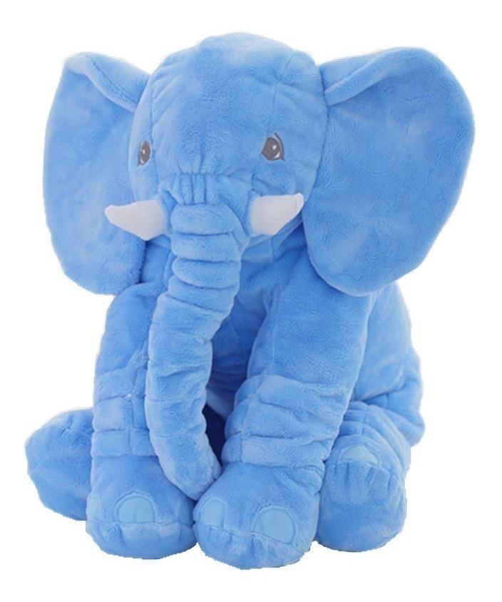 Elefante De Pelucia 60 Cm - Almofada Azul
