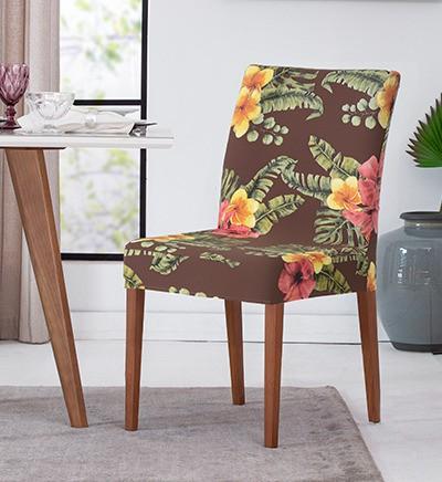 Jogo Com 2 Capas de Cadeira em Malha Helanca Adomes Floral Marrom