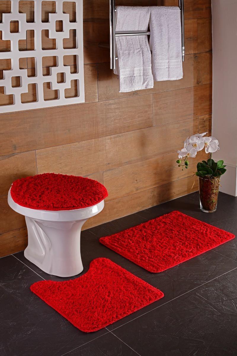 Jogo de Banheiro 3 Peças High Vermelho
