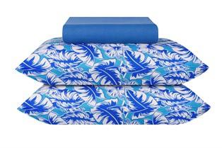 Jogo De Cama Malha King 3pcs 203 X 193cm Azul Folhas