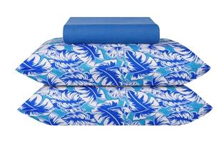 Jogo De Cama Malha Queen 3pcs 200x160 cm Azul Folhas