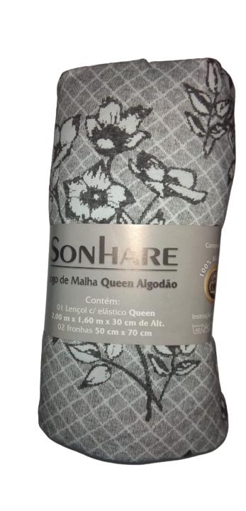 Jogo De Cama Malha Queen 3pcs 200x160 cm Floral Cinza Quadriculado