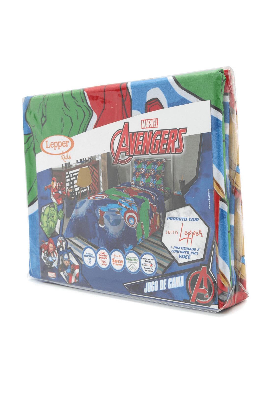 Jogo de Cama Microfibra de Poliester Avengers 3 pçs Lepper