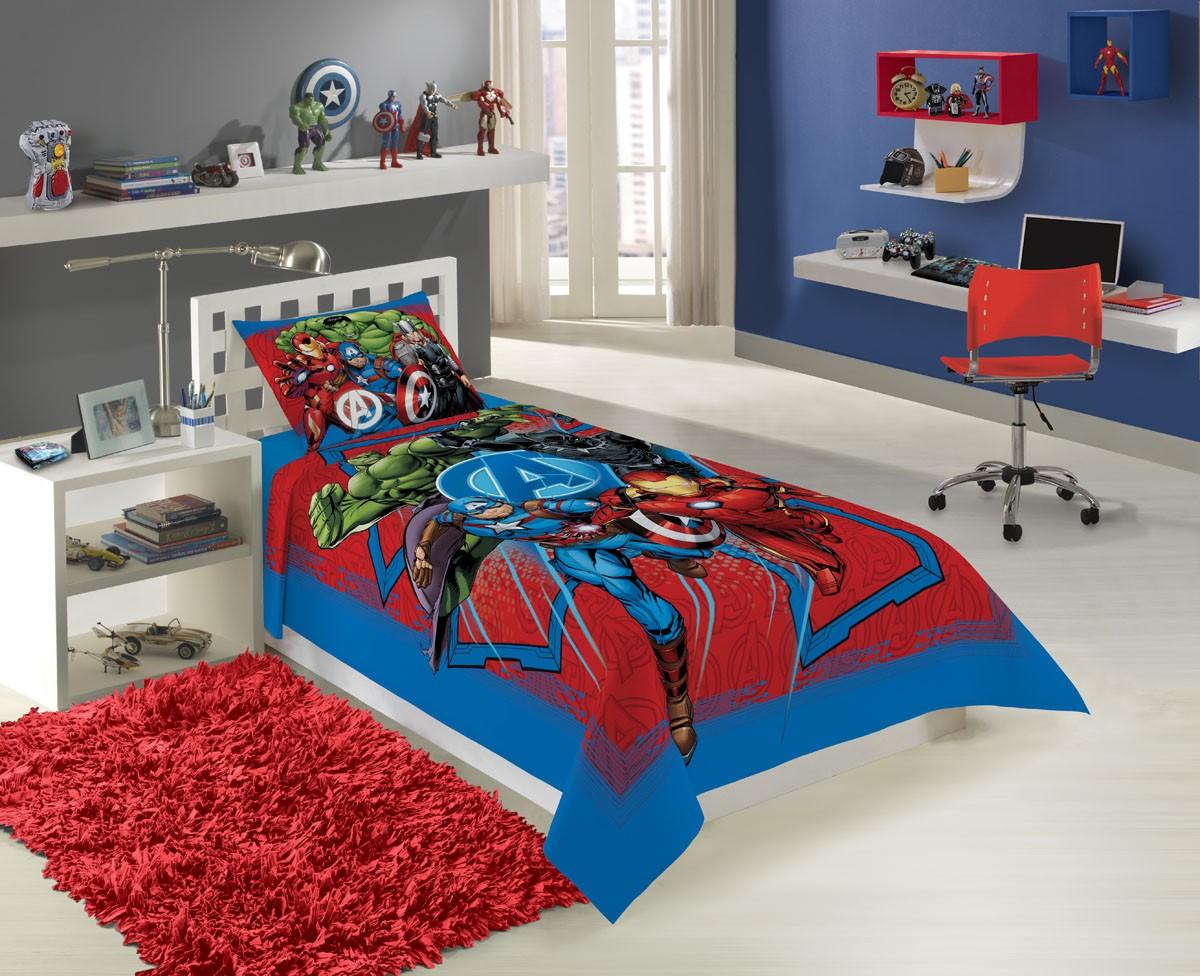 Jogo de Cama Solteiro Estampado Avengers 150x210cm C/ 2 pc