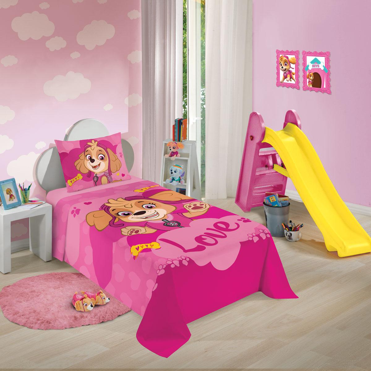 Jogo de cama Solteiro Patrulha canina menina Mod 3 150x210 c/2pc