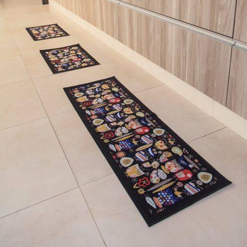 Jogo de Tapetes Para Cozinha 3 Pçs Preto Colorido Criativa ColorFul BellaCasa