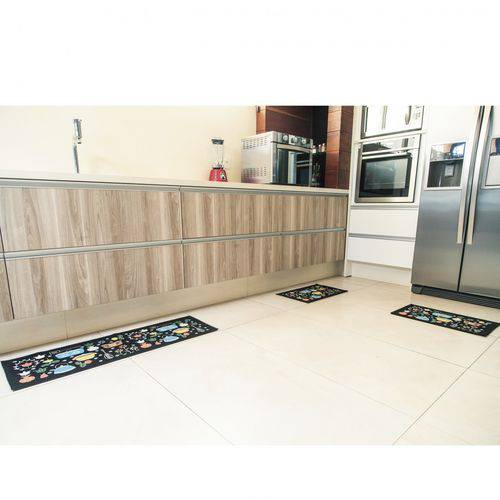 Jogo de Tapetes Para Cozinha 3 Peças Utensilio Pop ColorFul Bella Casa Preto