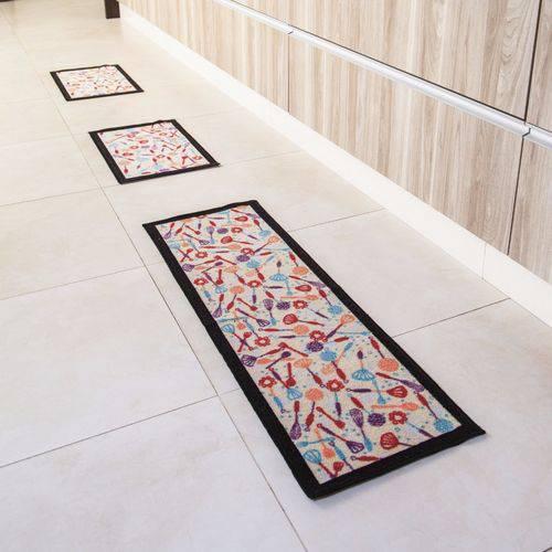 Jogo de Tapetes para Cozinha 3 Peças Utensílios Criativa Colorful Bella Casa
