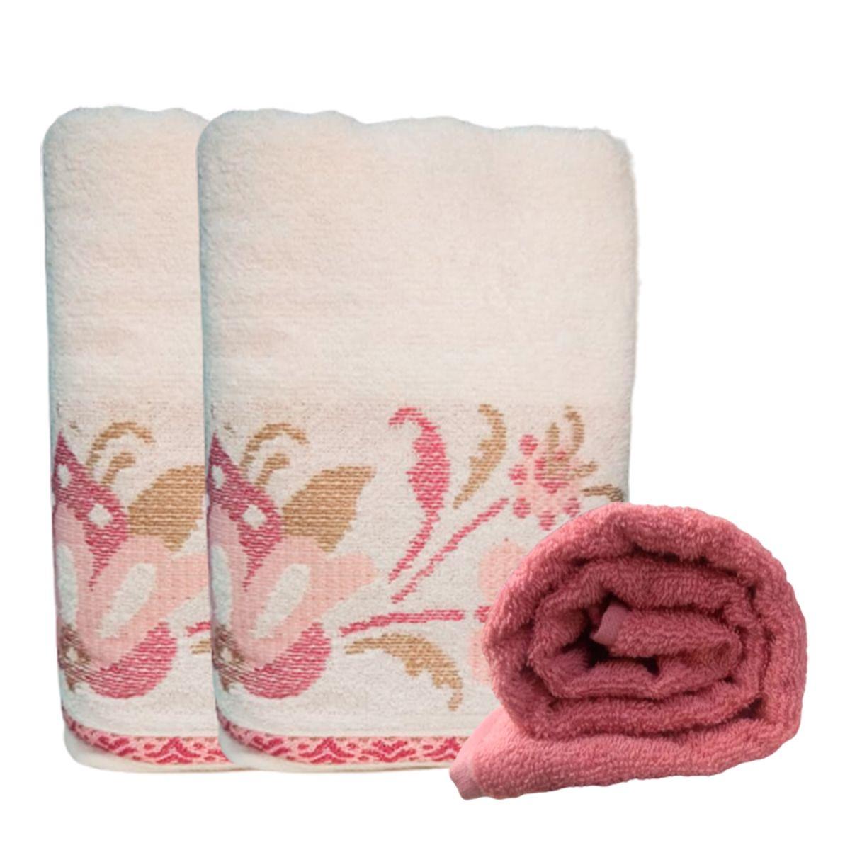Jogo De Toalha De banho 4 pçs Lotus Rosa Blush+Branco